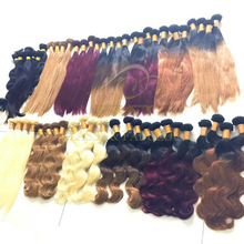 Alibaba Wholesale Natural Remy Human Hair Extension Two Tone Color Body Wave Hair 100% Human Ombre Braiding Hair