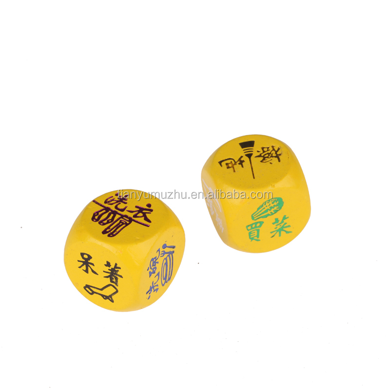 Factory supply printed wooden dice custom made dice wholesale
