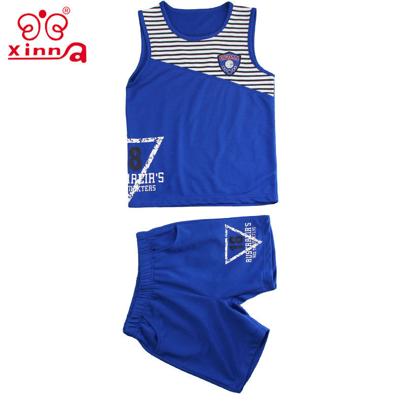 stripe printing basketball navy blue vest boy photo children in shorts