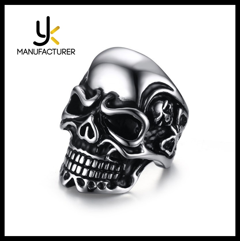 Wholesale Best Price Punk Retro Style Titanium Steel Mens Skull Band Rings Male In Stock