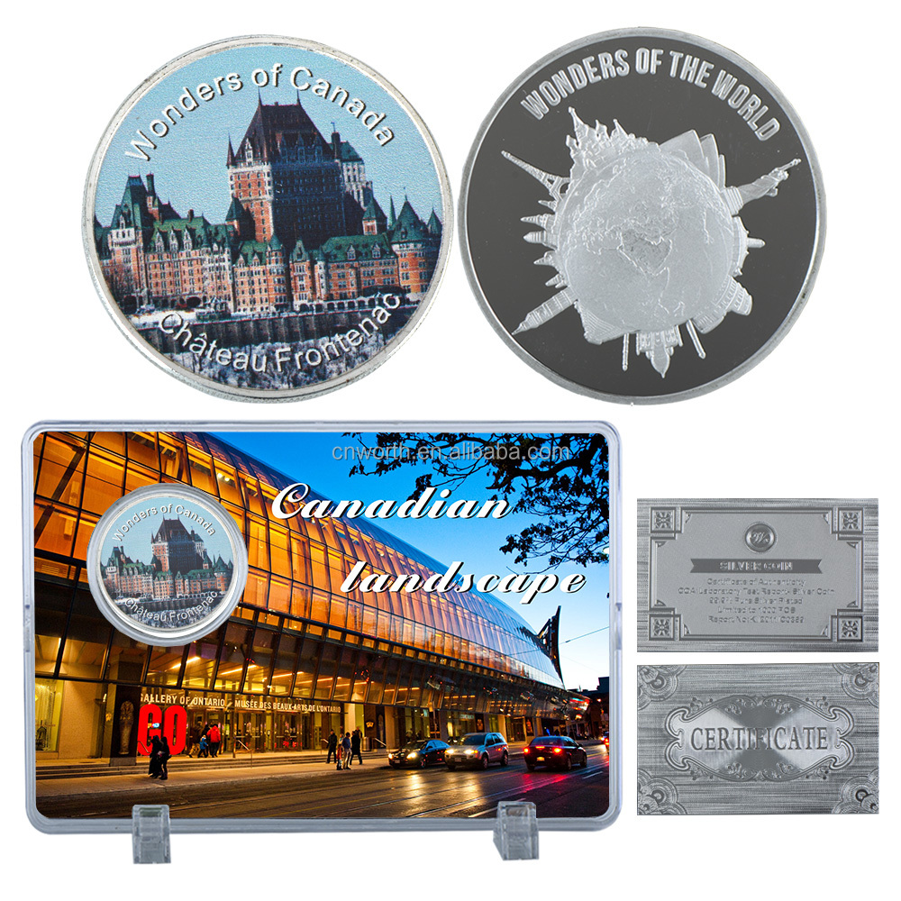 WR Canada Luxury Home Decor Chateau Frontenac Famous Building Challenge Silver Plated Coin with Big Scenery Case for Gifts