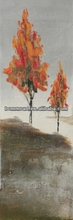 Autumn trees oil painting landscape natural