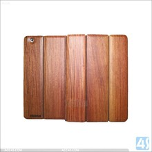 Three Folding Wood + PU Leather Cover Case for iPad 2 / 3 / 4