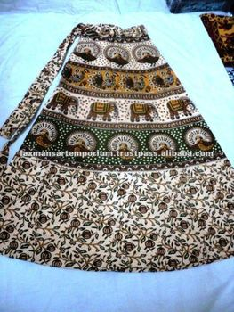 cotton printed long skirts wrap