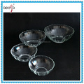 Flower shaped round clear glass salad fruit bowl set