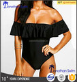 Women's fashion hot selling black nylon spandex falbala one piece swimwear.