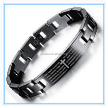 Religious bible prayer style stainless steel bangle letter geometry Bracelet for man