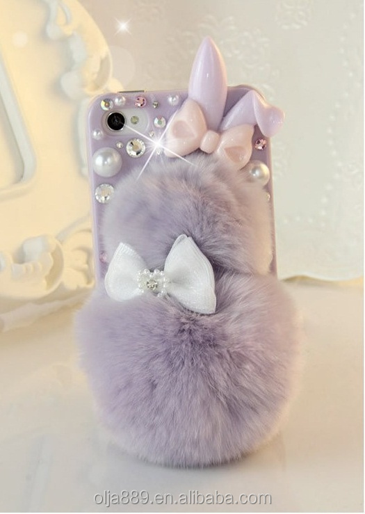 2017 new lovely desgin Rabbit Hair Ball plastic phone case for iPhone 6 Dimond PC case for iPhone 7 7Plus