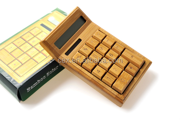 Wholesale - 2014 New hot selling 12 digits Handmade Natural Bamboo Wooden Solar Calculator