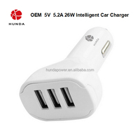 HUNDA Brand Make in China Fireproof 3 Port USB Car Charger with Friendly PVC Materials