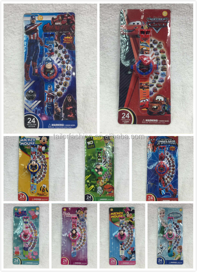 TF-Y02160517015 NEW avengers cars Cartoon Projection led Projector 24 Images Children Digital Projection Watch