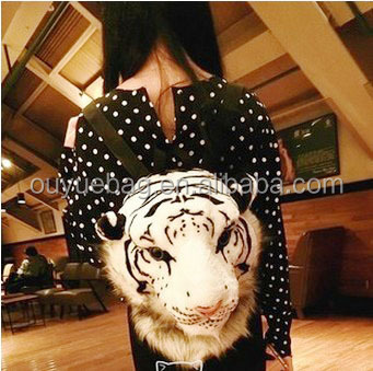 the trend of large tiger head personality Korean fashion backpack shoulder bag/yellow white Steller fashion handbag 2015