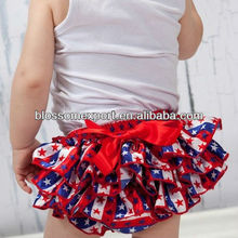 Boutique Forth Of July Red White Blue Stars Baby Girls Bloomers Ruffle Diaper Covers Baby Satin Bloomers