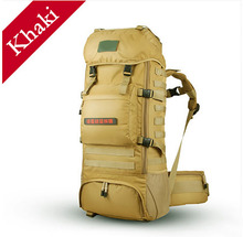 High quality 70L big volume khaki military camping hiking <strong>backpack</strong>