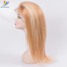 Wholesale Light Blonde Highlights Virgin Indian Human Hair Full Lace Wig With Baby Hair