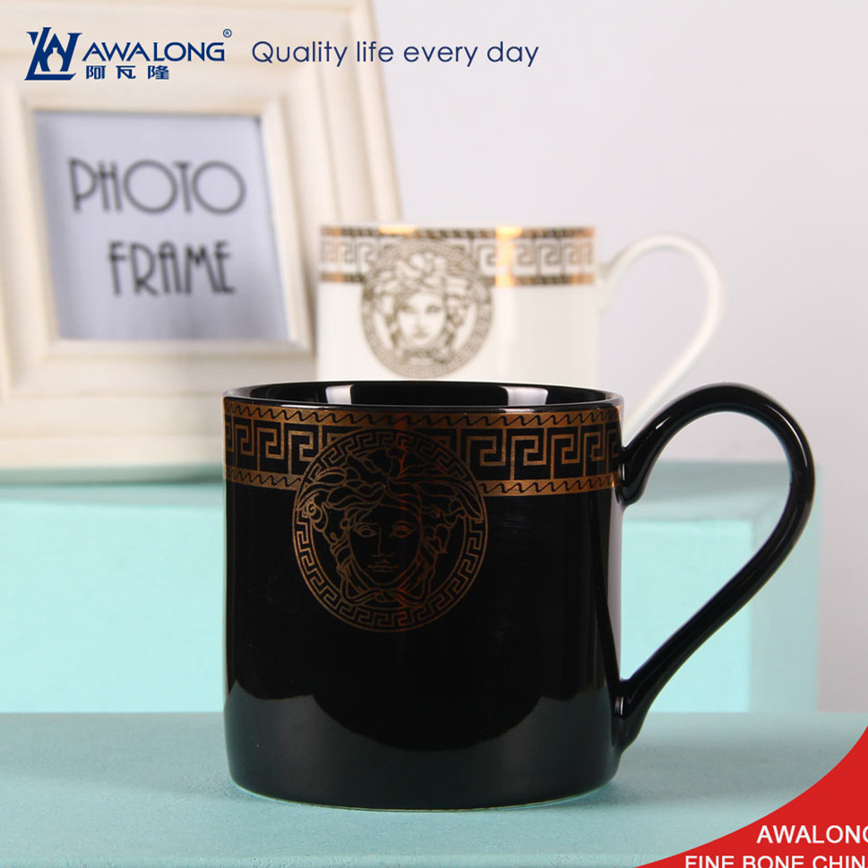 fine porcelain white coffee mugs with golden printing / ceramic Italy <strong>black</strong> coffee mug