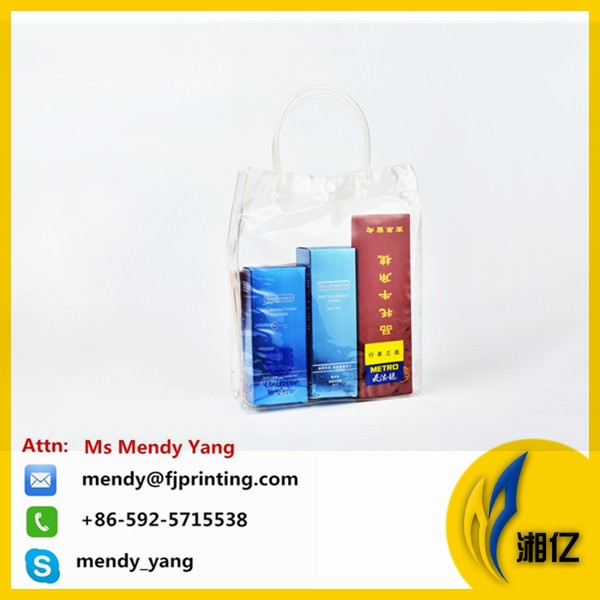 clear PVC bags with zipper and sewn handle