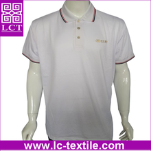 supply direct from factory 100% cotton knit Custom Fit white school polo tshirt with gold stamping print(LCTT0263)