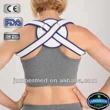 padded straps cross in a figure of eight, comfortable wide padding, round shape pad in back, medical back support