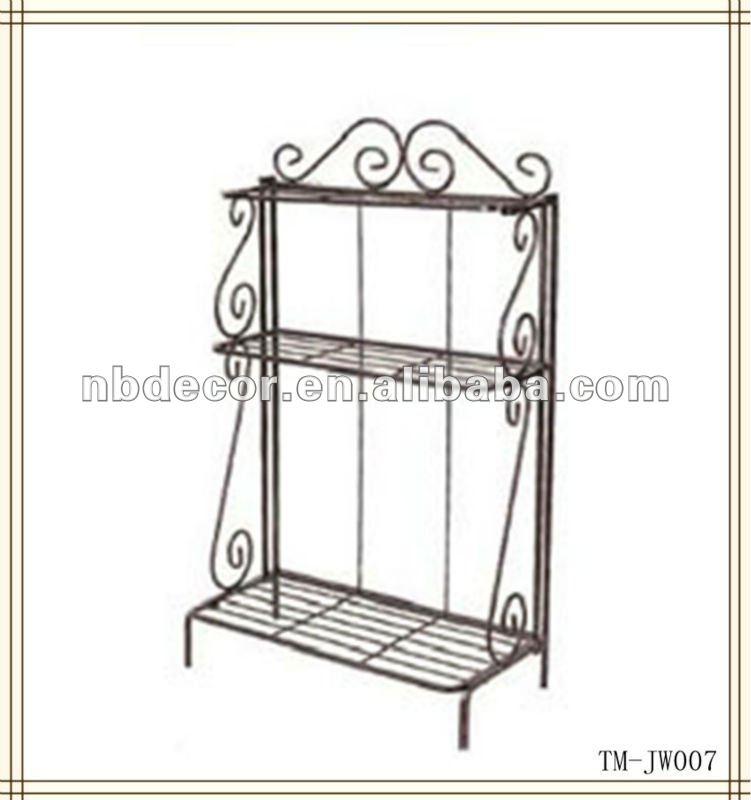 Metal wire 3 tier black plant stand