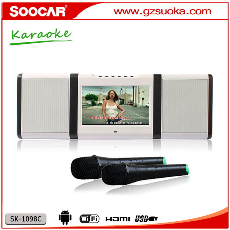 Popular Karaoke Speaker System playing CD EVD USB BT with 2 wireless Microphone