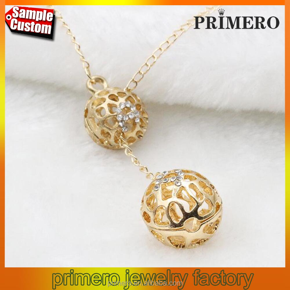 Classic Crystal Hollow Out Two Ball Rhinestone Long Chain Necklace 18K Gold Plated Designs
