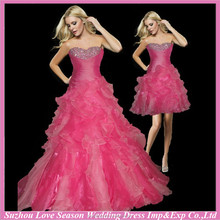 HQ2086 2015 New western style cheap layers organza coral prom party skirt quinceanera dresses with detachable skirt