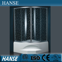 HS-SR005B curved glass shower enclosure/ corner shower room round/ d shape shower enclosures