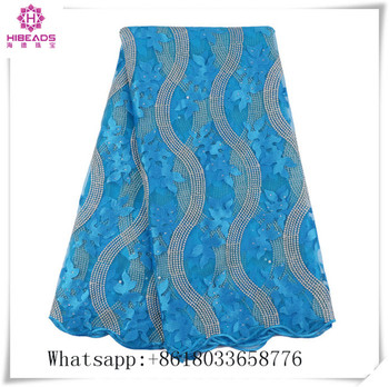 Best Selling blue African organza Lace Fabric With Stones Nigerian French Fabric 2017 High Quality African Tulle