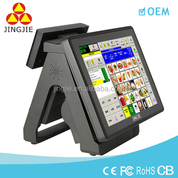JJ-8000BU Double Touch Screen Retail POS system All in One POS Terminal