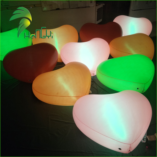 Colorful LED Illumination Balloon Type Inflatable Heart-Shaped For Wedding Decoration