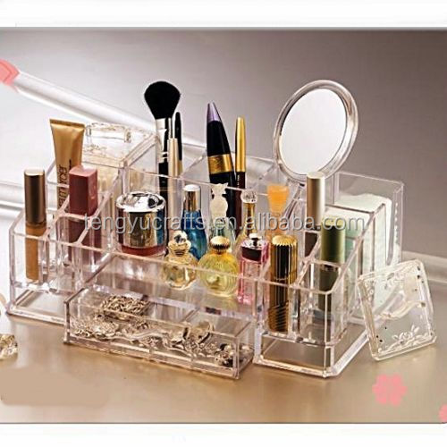 Hot selling multifunction lucid acrylic lipstick dispaly brush box makeup cotton holder