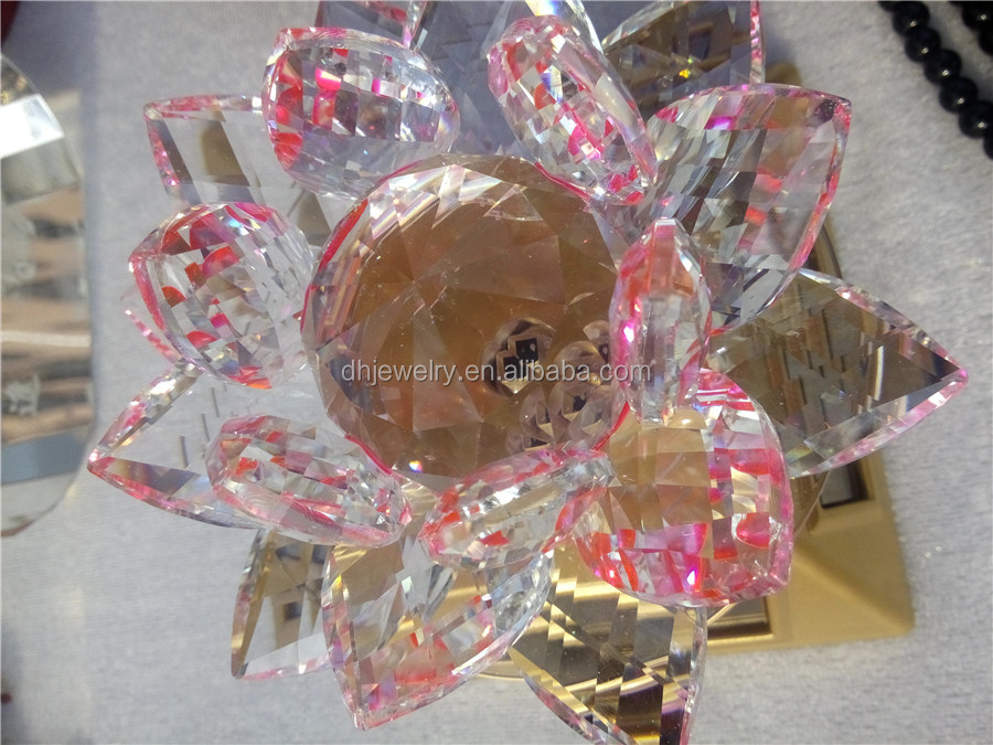 Hot sell crystal crafts rotatable crystal flower lamp for gift
