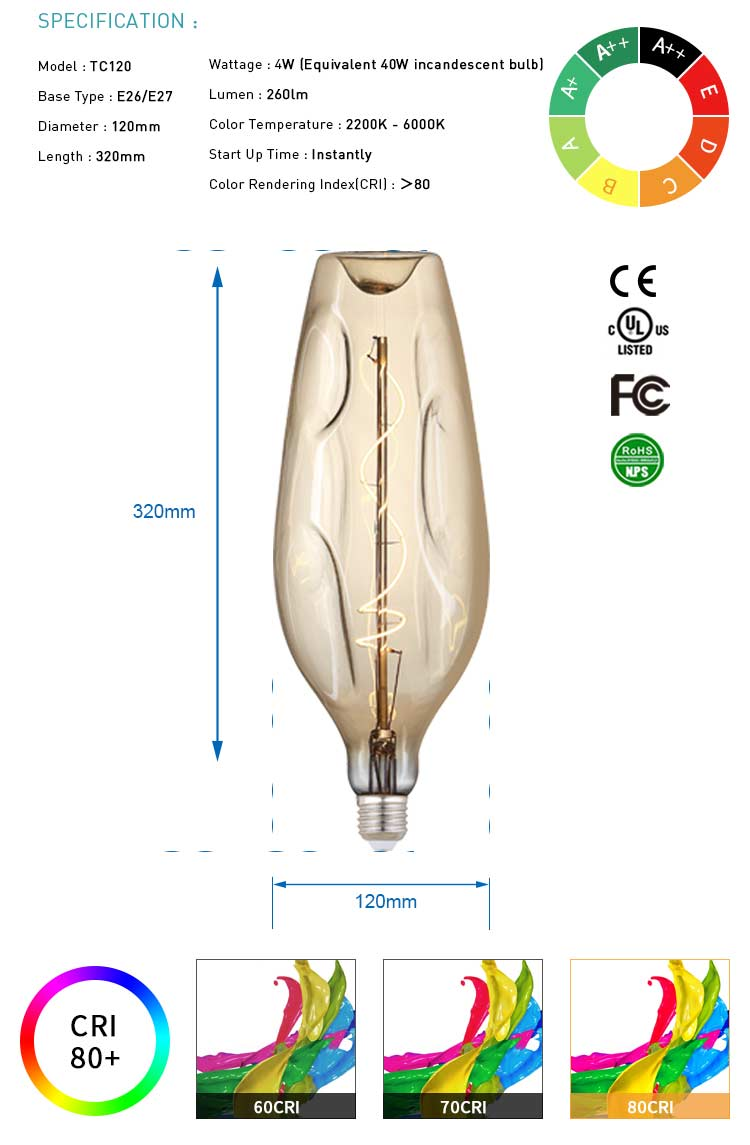 TC120 Oversized Edison bulb giant vintage E26/E27 4W amber dimmable decor LED Filament Bulb
