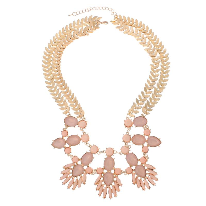 Fashion Jewelry Necklace Gold Plated Pink Acrylic Leaf Findings With Lobster Clasp 47.5cm