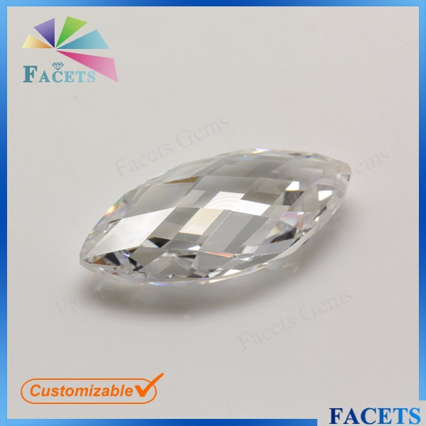 Facets Gems Drilled Hole Double Faceted Marquise Cut CZ Beads for Pendant