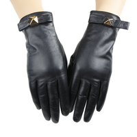 High Quality Punk Style Touch Screen Women Sheep Leather Gloves