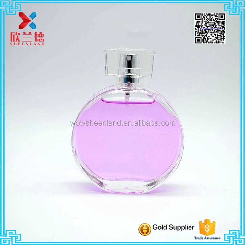 Fancy circle flat shape designer travel portable glass perfume bottle with surlyn cap