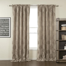 Premium Collection Classic Jacquard Beige Floral Rod Pocket Blackout Curtain