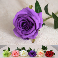 Tianjin Artificial Flower Factory Artificial Flower Rose Bud with Plastic Flower Stems