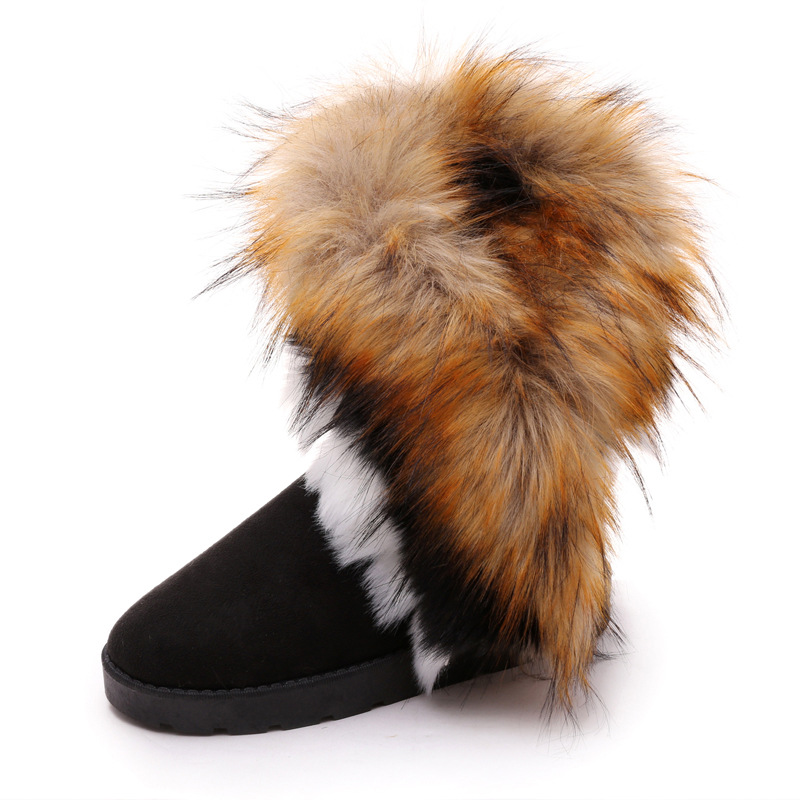 2016 New Fashion Winter Boots Keep Warm Snow Boots Women Down Fur Platform Shoes Women Winter Knee High Boots Black