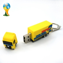 Customized pvc material truck shape USB flash drive with key chain