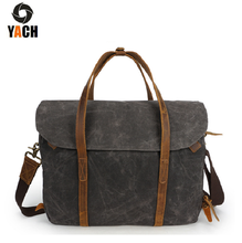 High grade vintage waxed canvas waterproof briefcase attache case laptop messenger bag for men