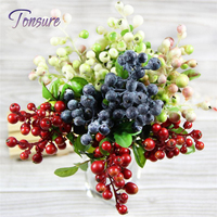 4 color 10pcs Decorative Blueberry Fruit Berry Artificial Flower Silk Flowers Fruits For Wedding Home Decoration Silk Plants