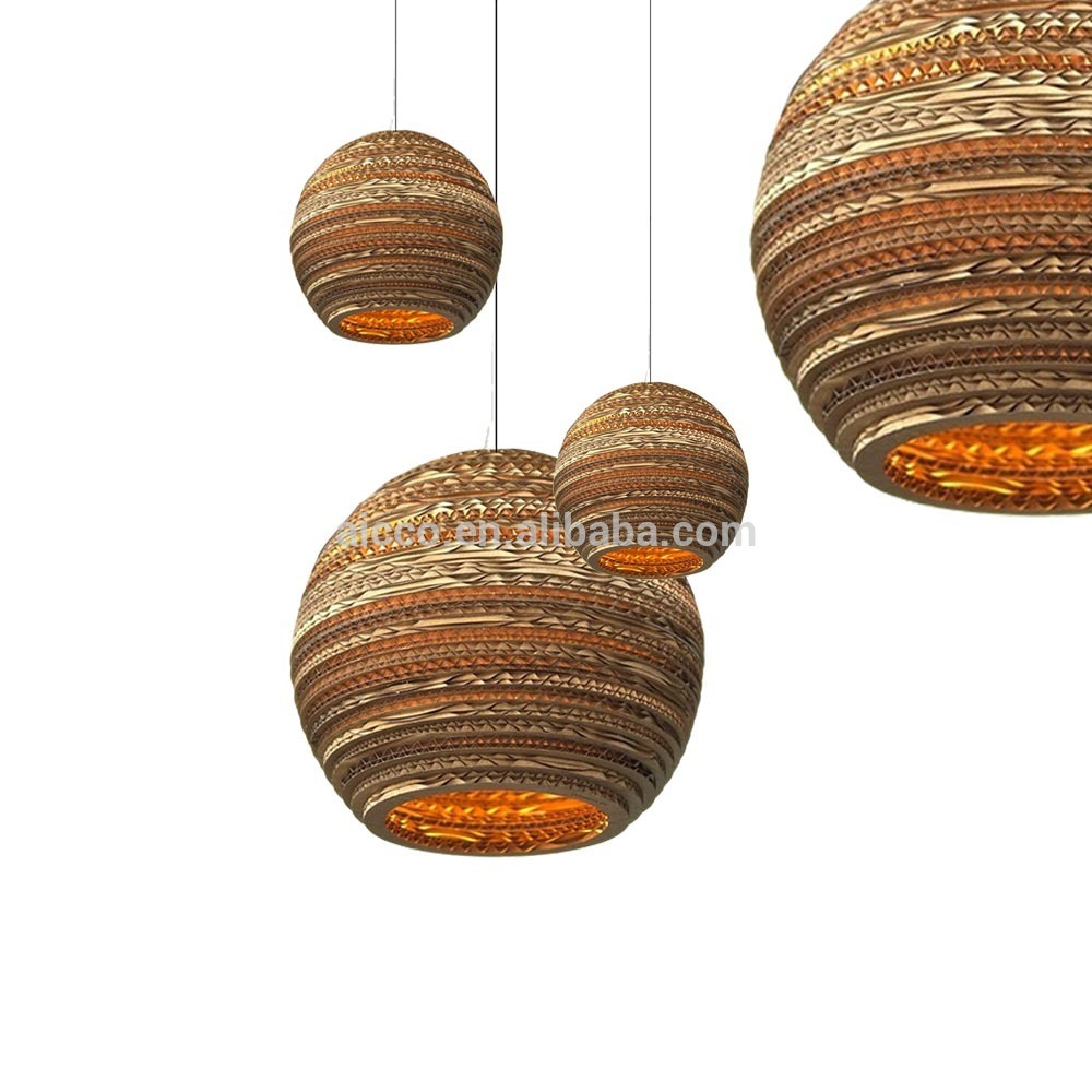 Decorative Pendant Lighting Home Lights Recycled Cardboard Moon Pendant Lighting