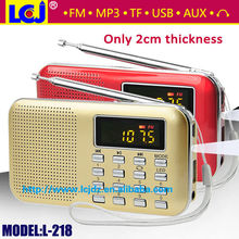 L-218 Hot sale MP3 FM radio player with mp3 player and speaker