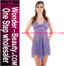 Women Sheer Nightwear Purple Hot Transparent Sexy Babydoll Lingerie