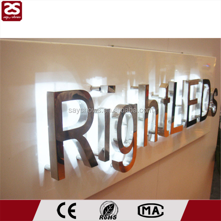stainless steel led logo backlit led channel sign lighted metal letters