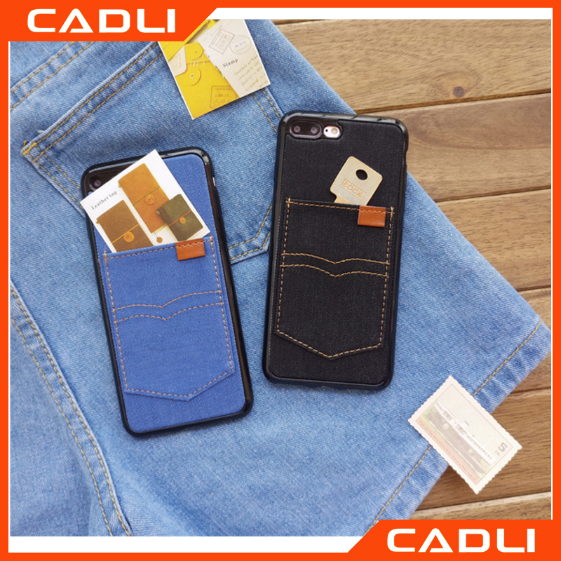 i6 Business Jean Design Leather Phone Case for iPhone 6 6s Plus Soft TPU Cover Stand Card Holder