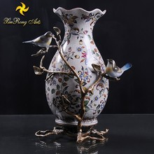 Attractive price table centerpiece ceramic flower vase with bronze decoration